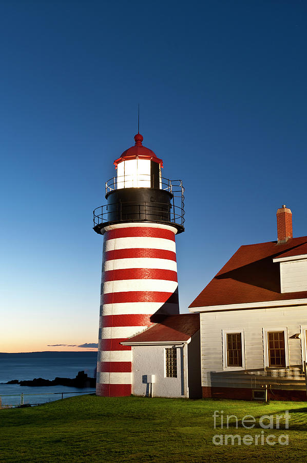 Maine Photograph - West Quoddy Head Lighthouse Maine by John Greim