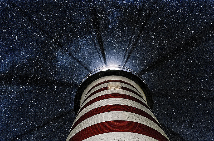 West Quoddy Head Lighthouse Photograph - West Quoddy Head Lighthouse Night Light by Marty Saccone