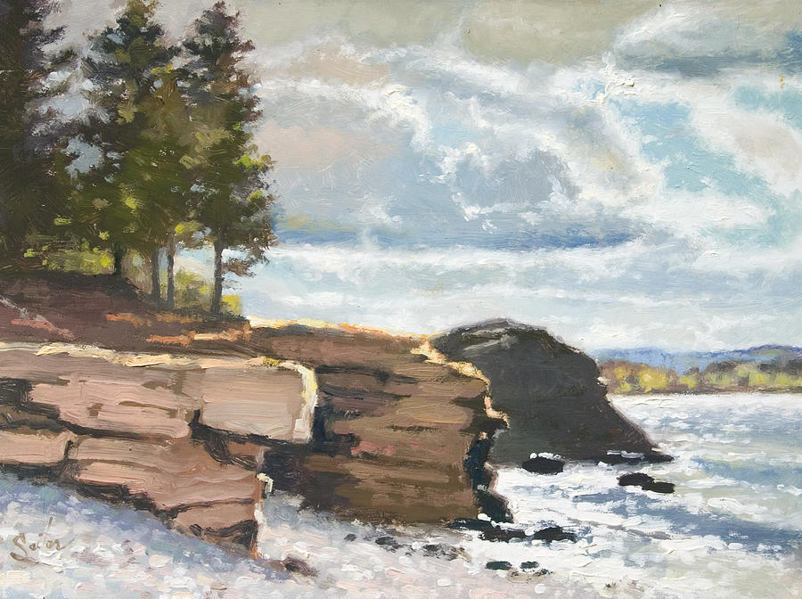 Lake Superior Painting - West Shores Presque Isle by Larry Seiler