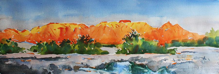 Red And Blue Painting - West Temple Zion Afternoon by Owen Hunt