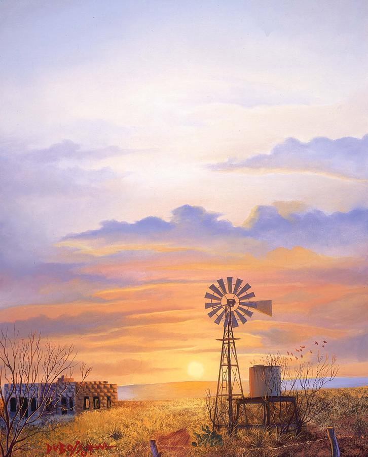 Windmill Painting - West Texas Sundown by Howard Dubois