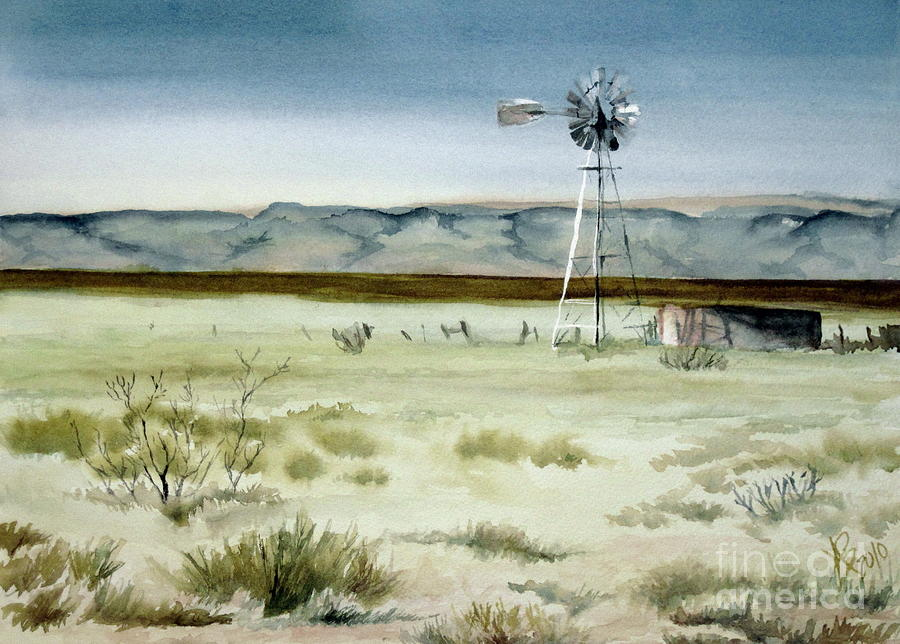 Windmill Painting - West Texas Windmill by Karen Boudreaux