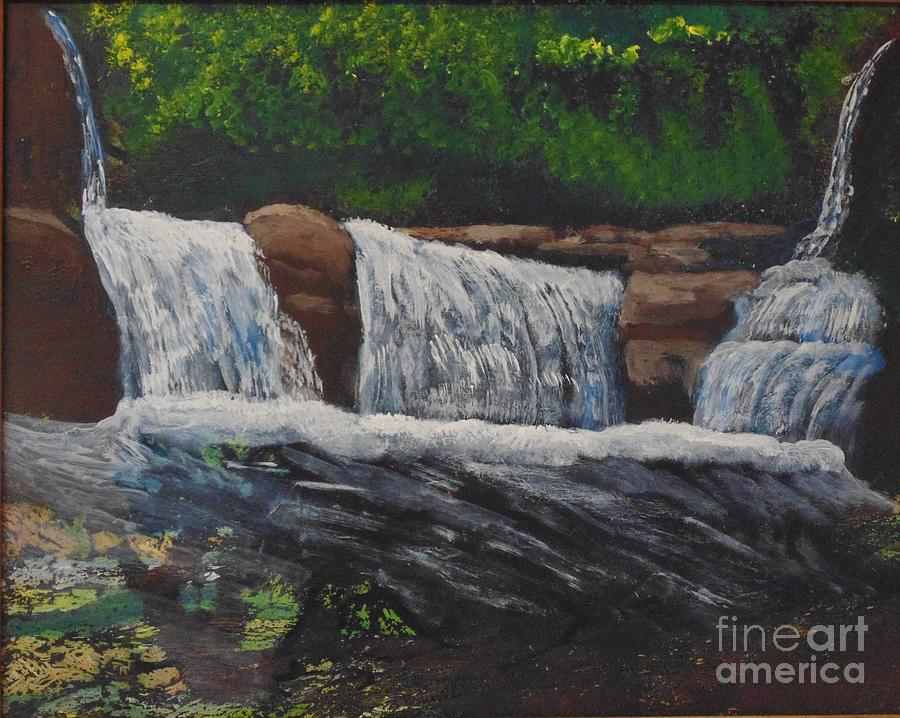 Water Painting - West Virgina Water Falls by Joe Hagarty