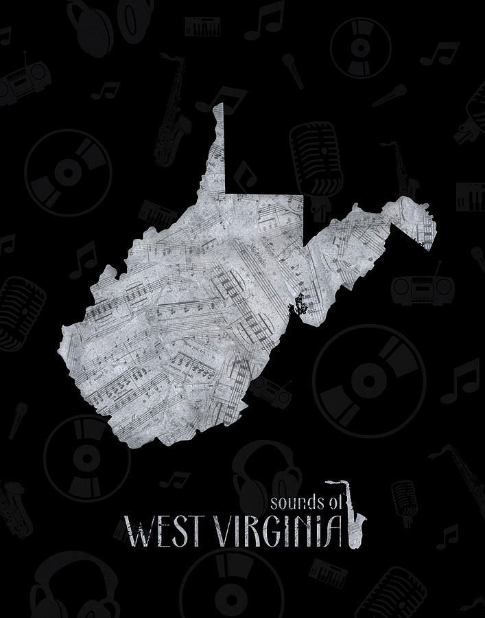 West Virginia Map Music Notes 2 Digital Art