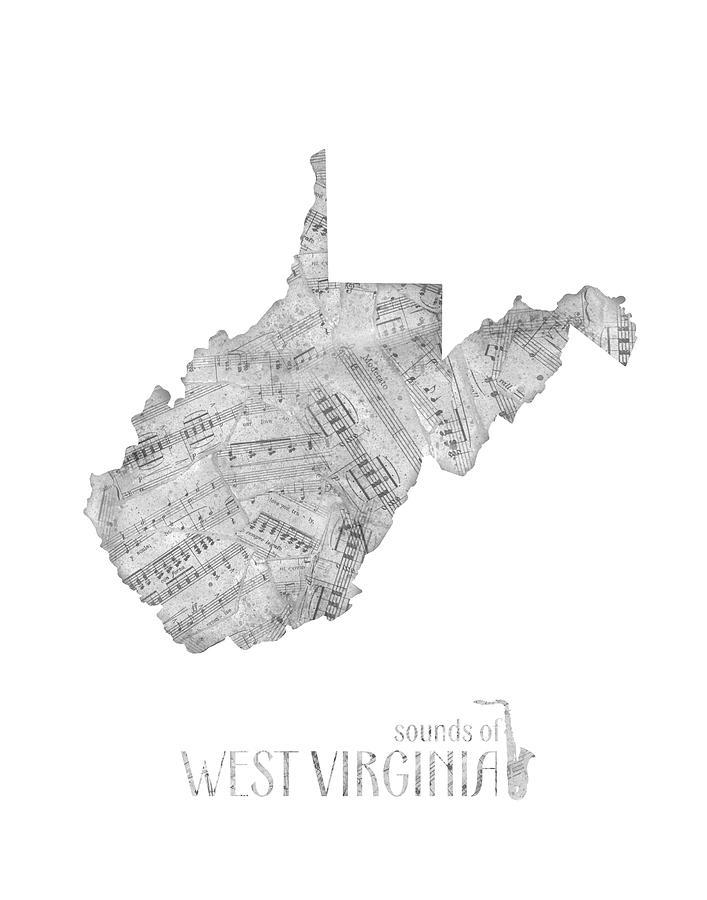 West Virginia Map Music Notes Digital Art