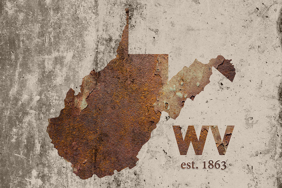West Virginia Mixed Media - West Virginia State Map Industrial Rusted Metal On Cement Wall With Founding Date Series 014 by Design Turnpike