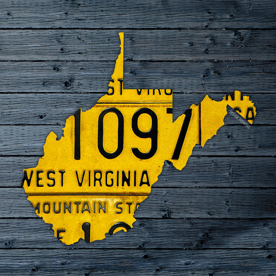West Virginia State Recycled Vintage License Plate Map Art Mixed ...