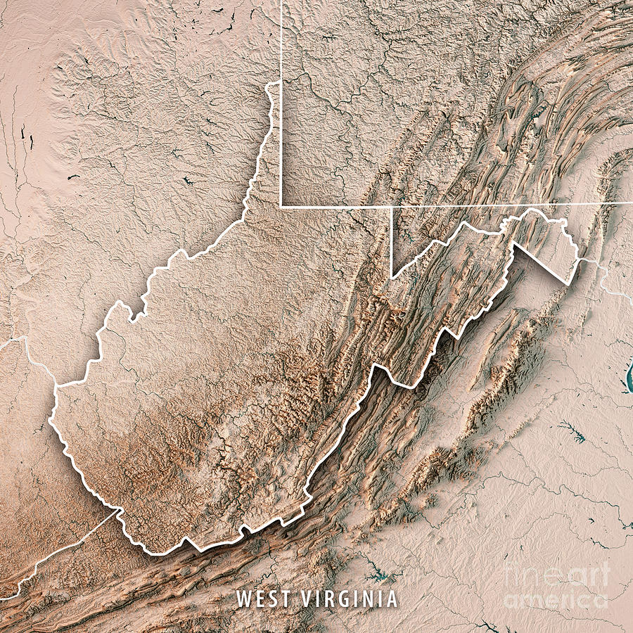 West Virginia State Usa 3d Render Topographic Map Neutral Border