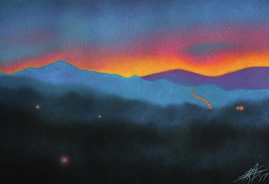 Landscape Painting - Westbound At Dawn by Robin Street-Morris