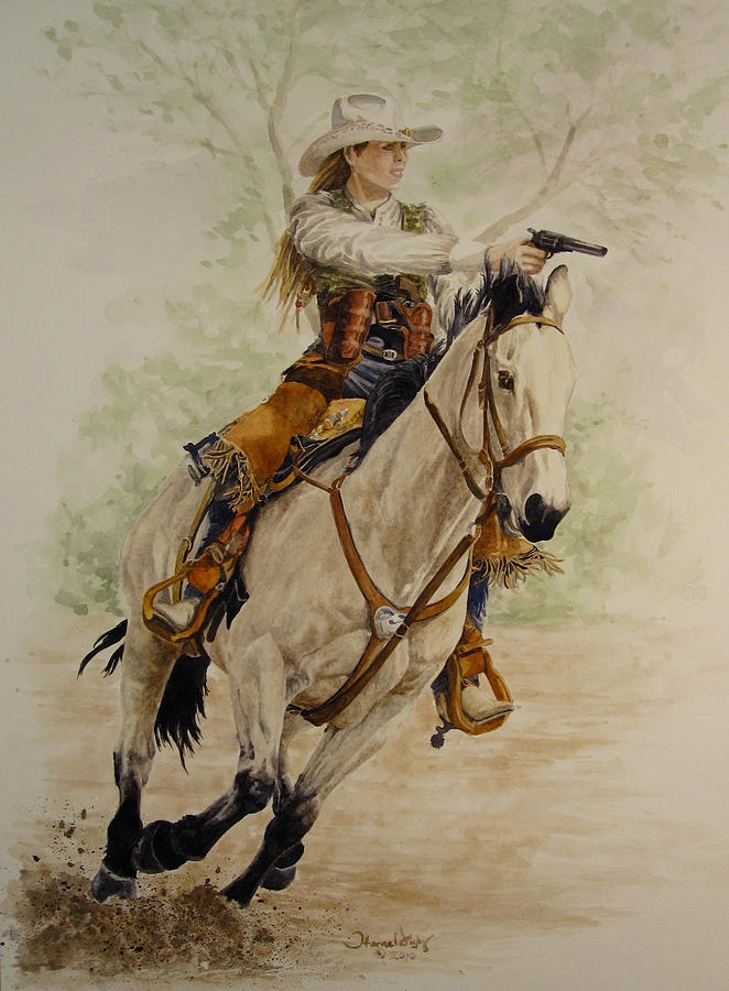 Cowgirl Painting - Western Barbie by Theresa Higby-LEP Available