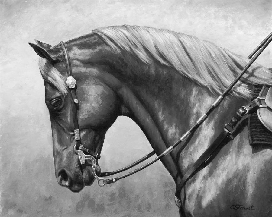 Horse Painting - Western Horse Black And White by Crista Forest