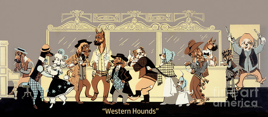 Dogs Painting - Western Hounds by Constance Depler