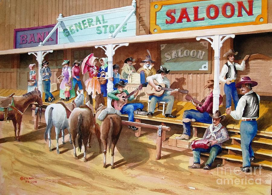 Western Jam Session Painting by Charles Hetenyi