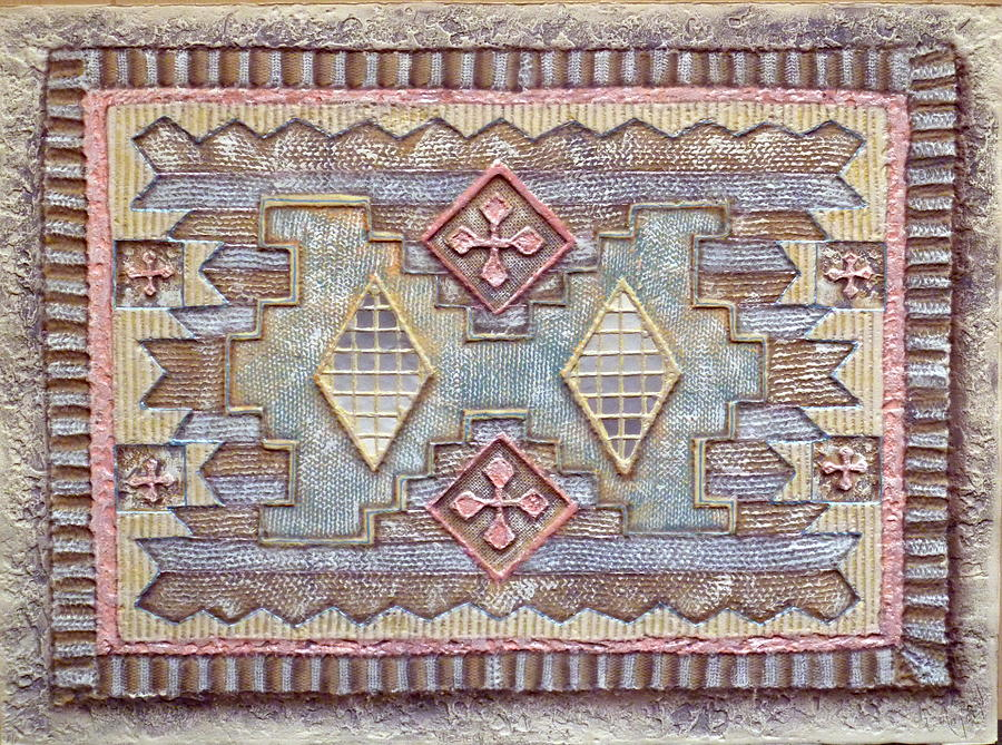 Mexican Rug Mixed Media - Western Rug X by Luis Mazorra