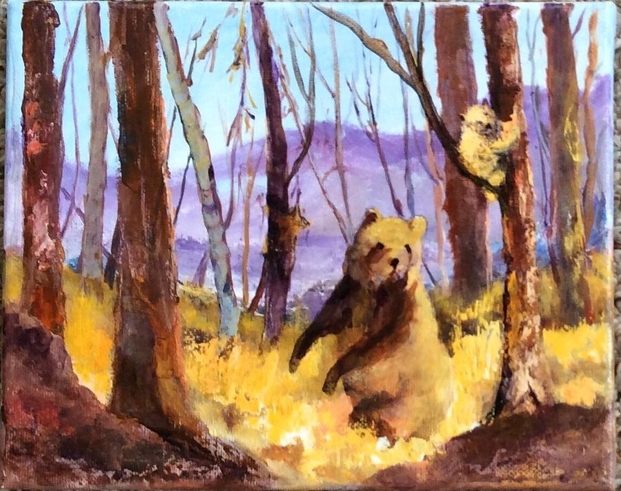 Western Us Art Grizzly Cub Wildlife Impressionistic Mountains Landscape National Parks Painting By Ann Wall