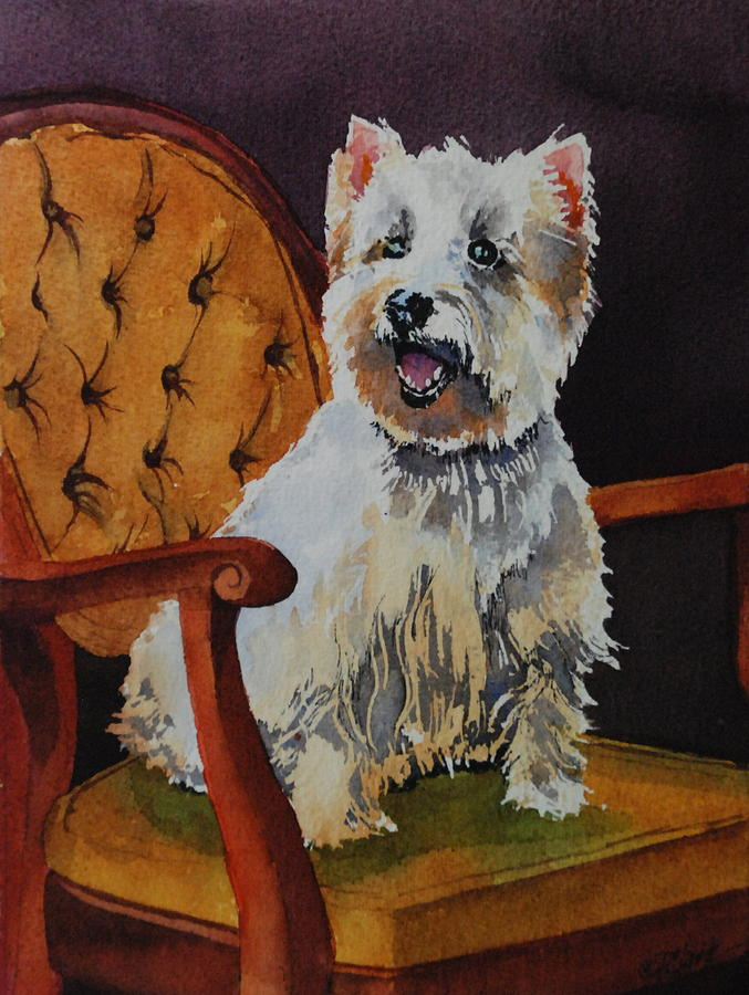 Westie Painting - Westie Angel Dusty by Donna Pierce-Clark