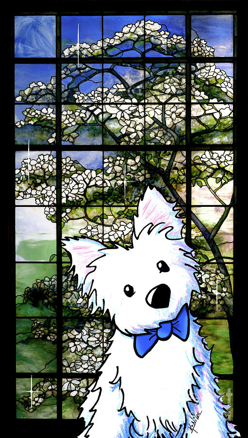 Westie Mixed Media - Westie At Dogwood Window by Kim Niles