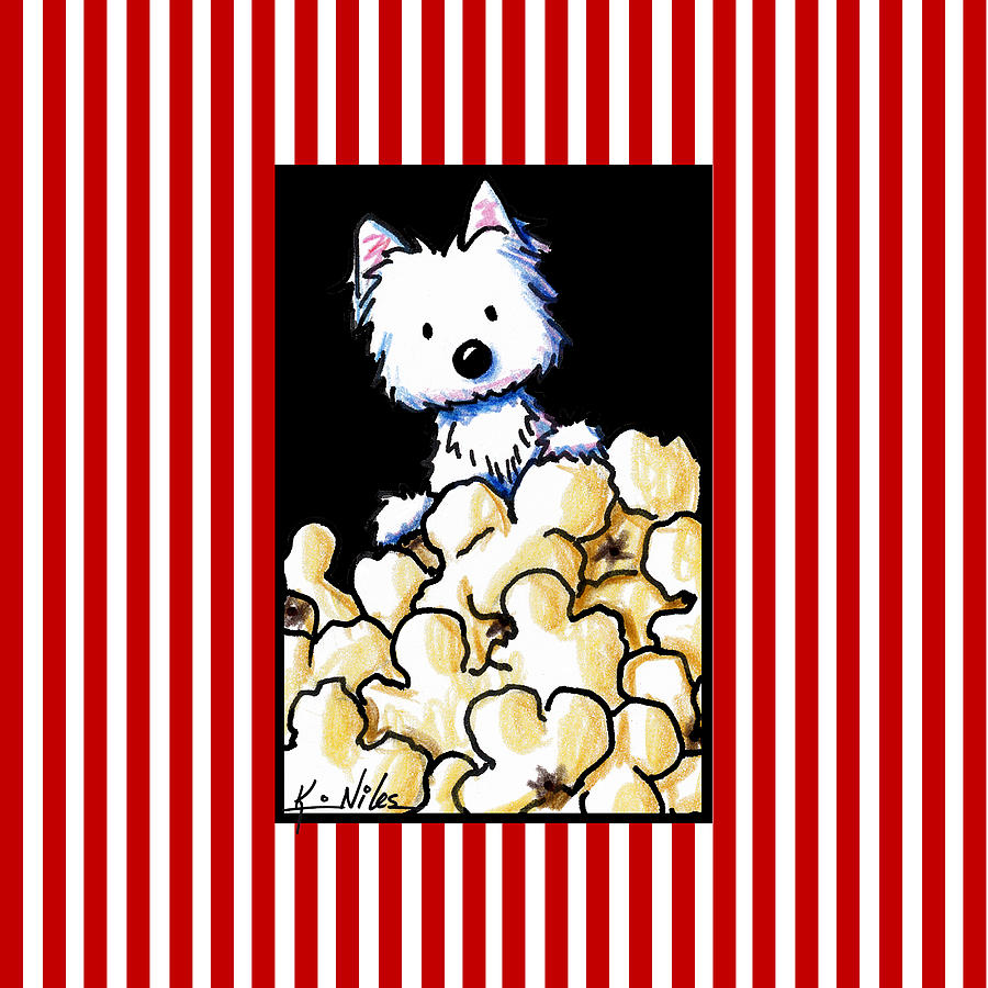 Popcorn Drawing - Westie Popcorn Lover by Kim Niles