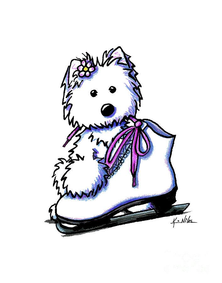 Westie Drawing - Westie Skater Girl by Kim Niles
