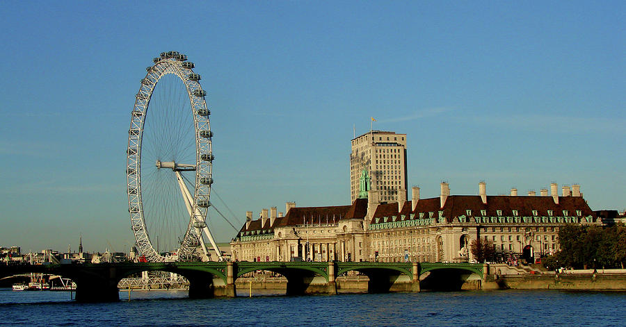 London Photograph -  Westminster Bridge and London Eye by Misentropy