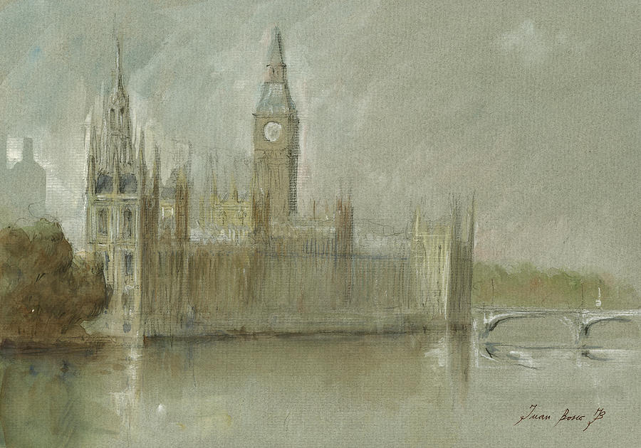 London City Painting - Westminster Palace And Big Ben London by Juan Bosco