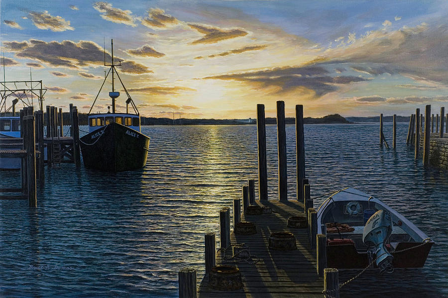 Boat Painting - Westport Harbor by Bruce Dumas