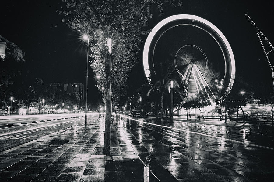 Wet Ferrris Wheel In Barcelona Photograph