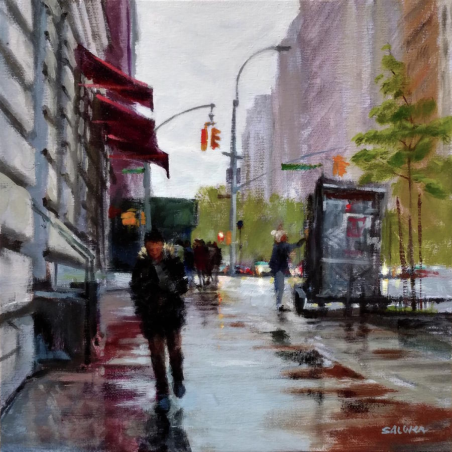 New York Painting - Wet Morning, Early Spring by Peter Salwen