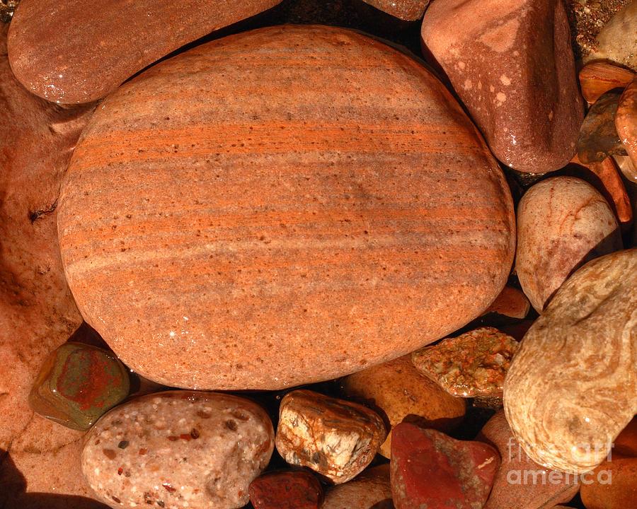 Sandstone Photograph - Wet River Rocks Along Salt River Shore by Max Allen