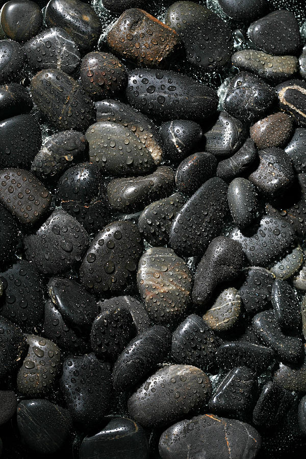 Background Photograph - Wet River Rocks  by Michael Ledray