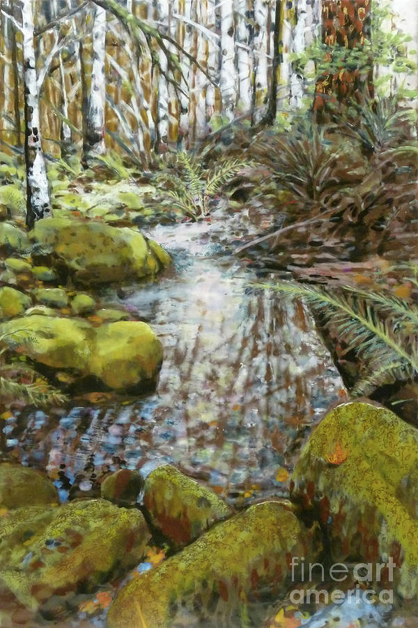 Encaustic Mixed Media - Wet Spot In Woods by Andrea Benson