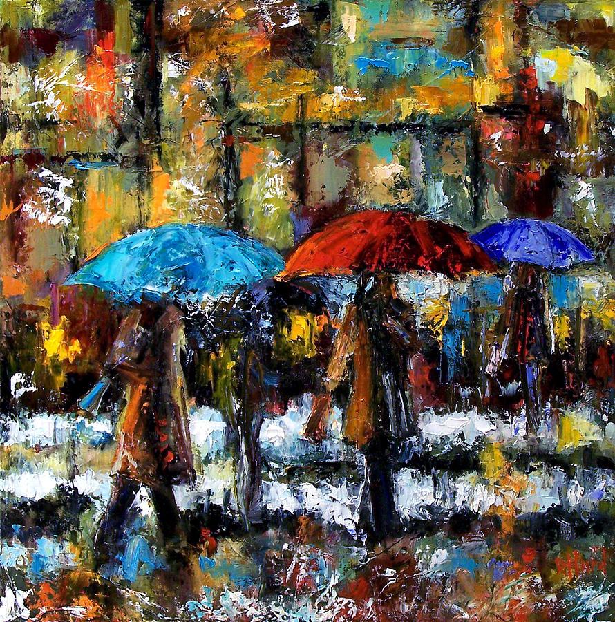 Umbrellas Painting - Wet Winter Day by Debra Hurd
