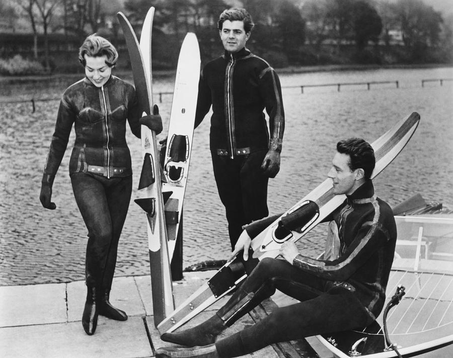 Wetsuits For Water Skiers Photograph By Underwood Archives