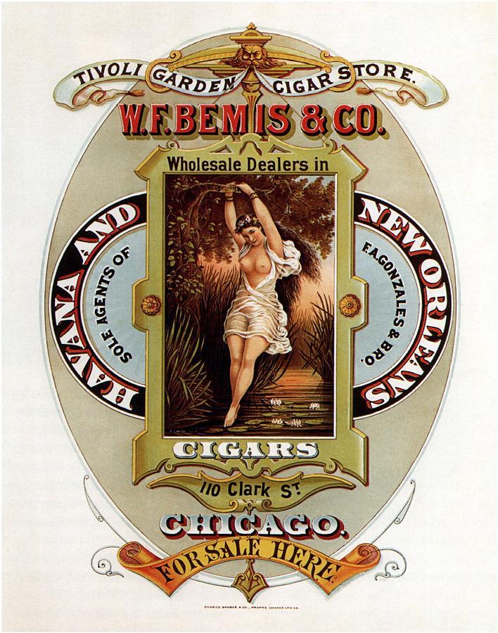 Vintage Mixed Media - W.f.bemis And Co - Tivoli Garden Cigar Store - Vintage Advertising Poster by Studio Grafiikka