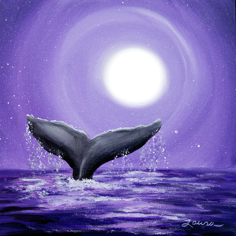 Whale Tail In Lavender Moonlight Painting By Laura Iverson