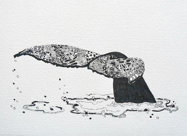 Whale Painting - Whale Tail by Yvonne Ankerman
