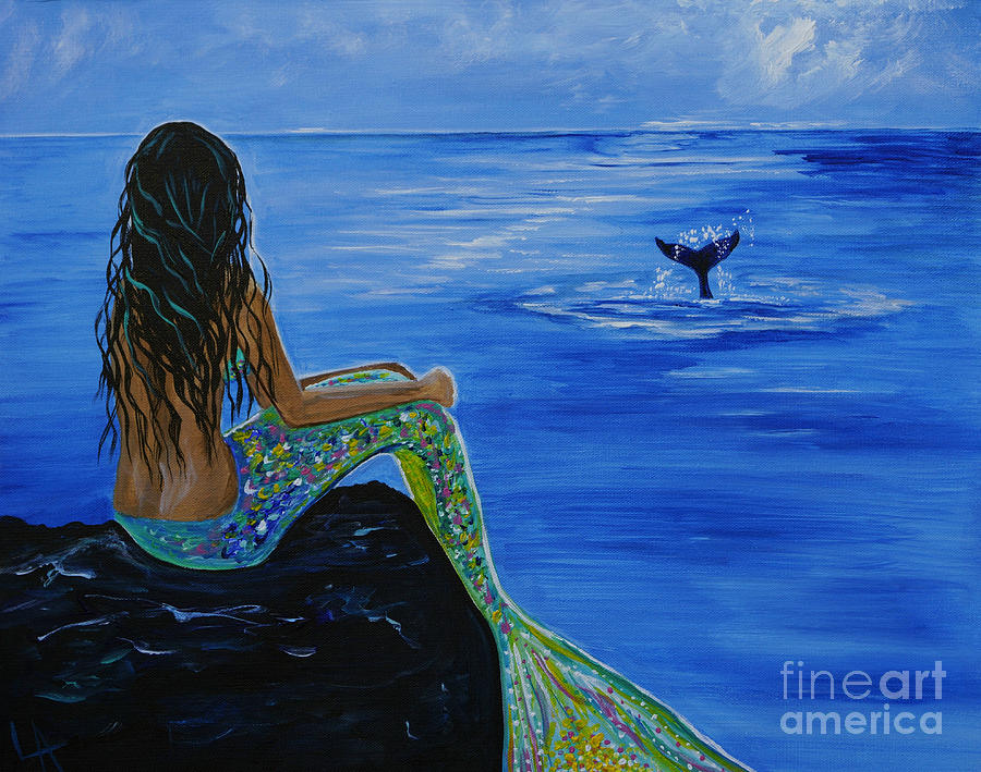 Mermaid Painting - Whale Watcher by Leslie Allen