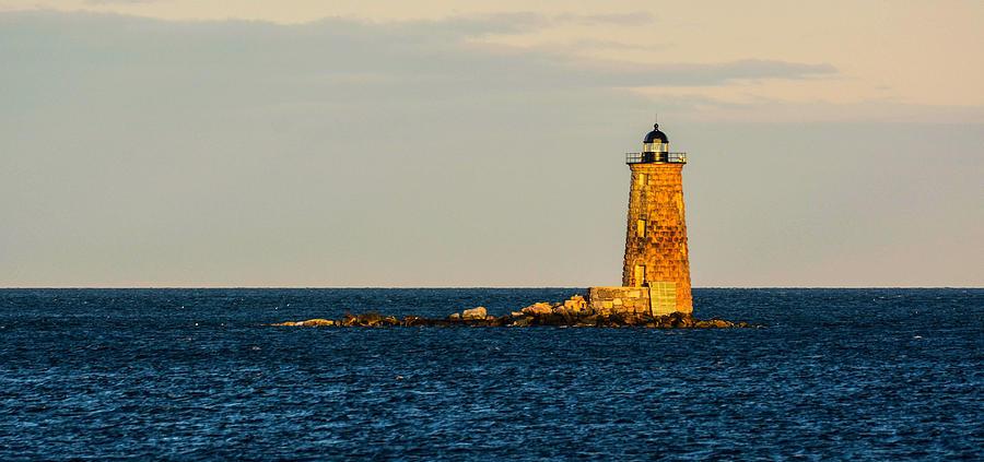 Whaleback Photograph - Whaleback Lighthouse at Sunset by Nancy De Flon
