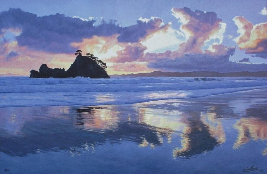 Seascape Painting - Whangapoua Dawn by Brian Moore