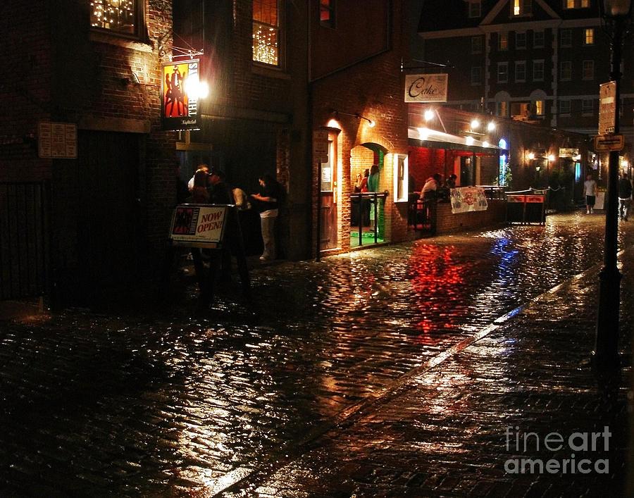 Maine Photograph - Whart Street In The Night Rain by Maria Varnalis