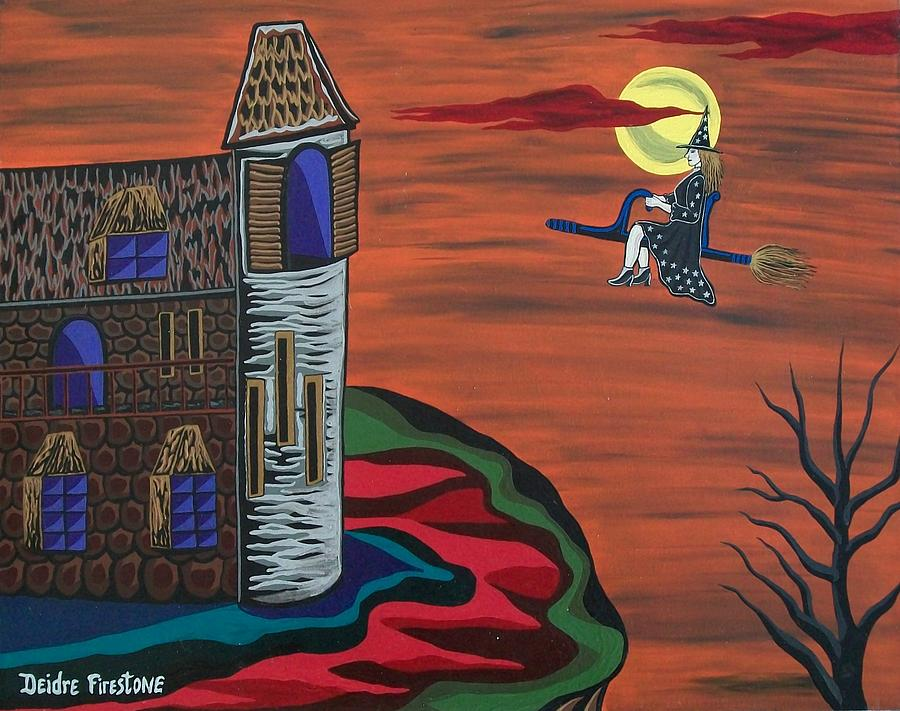 Witch On Broom Painting - What A Wonderful Night Out by Deidre Firestone