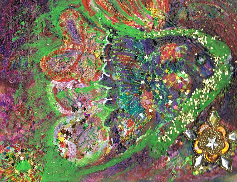 Green Fish Mixed Media - What Cha Doin Friday Night Mr. Turtle by Anne-Elizabeth Whiteway