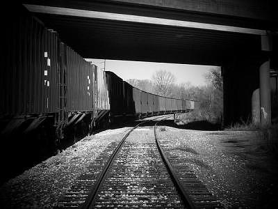 Train Photograph - What Lies Under The Bridge by Lacey Inman