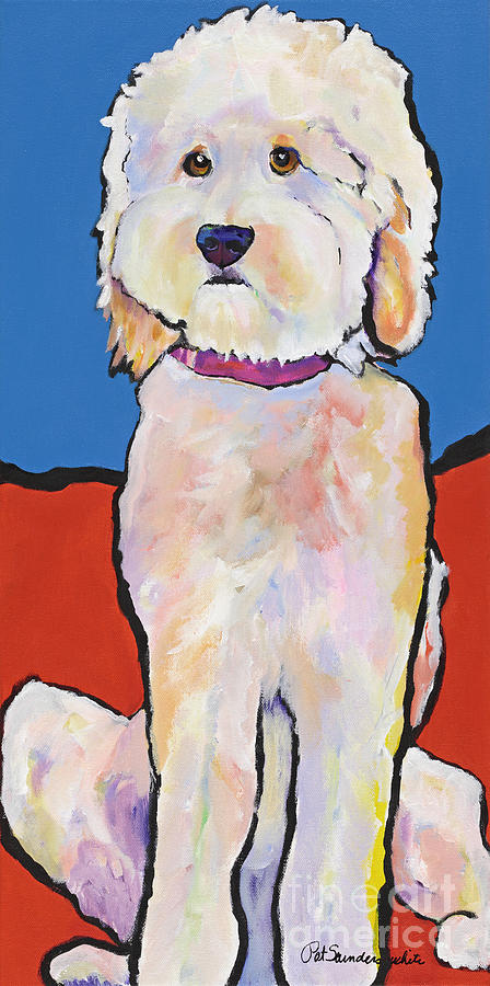 Sitting Dog Painting - What No Diamonds by Pat Saunders-White