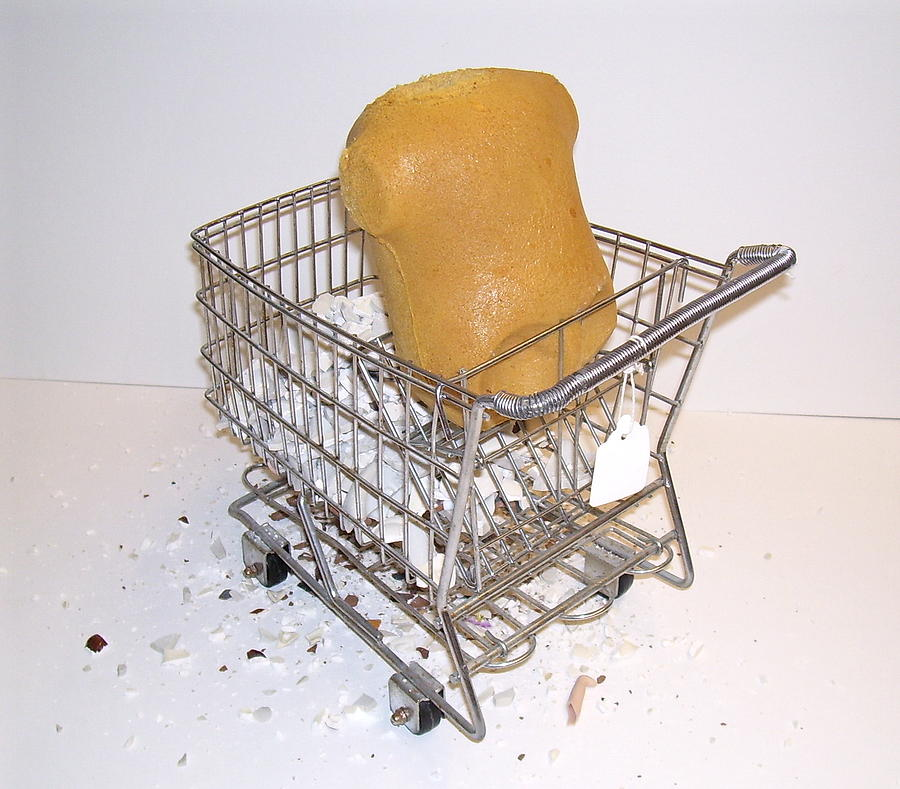 Shopping Cart Sculpture - What To Keep by Sher Fick