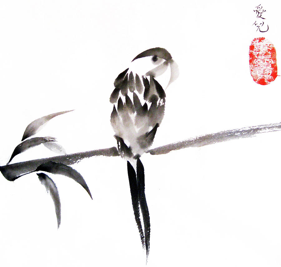 Sumi Painting - Whats Up by Oiyee At Oystudio