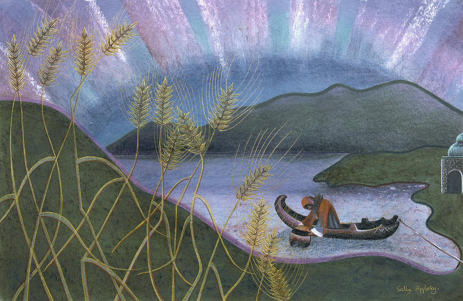 Landscape Mixed Media - Wheat And Northern Lights by Sally Appleby