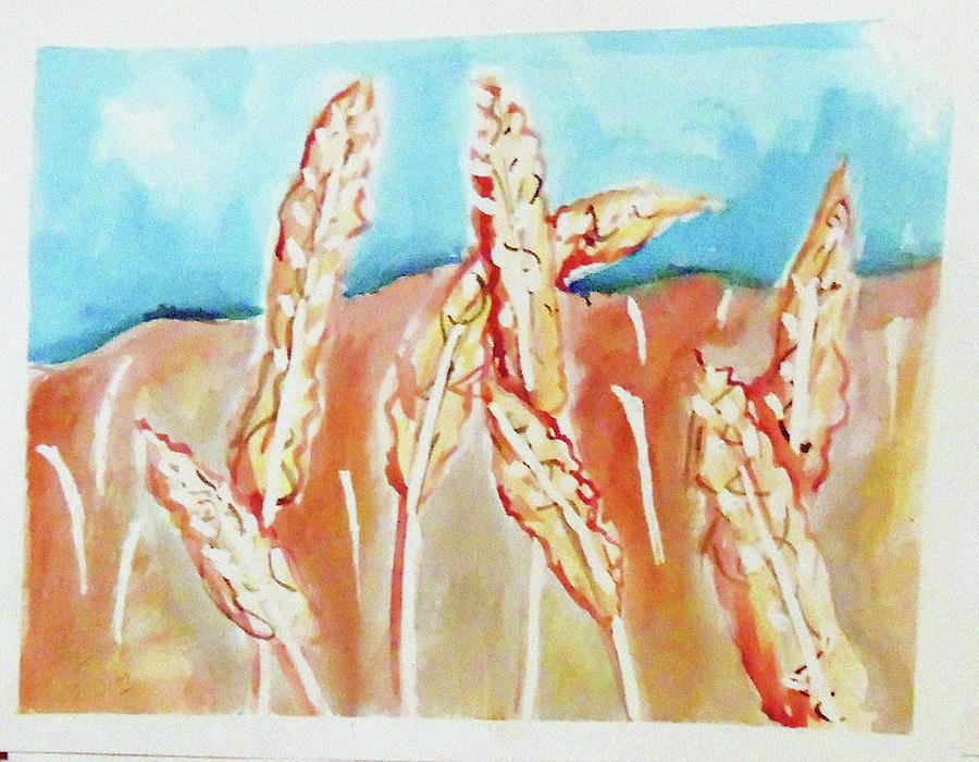 Wheat Field Painting by Loretta Nash