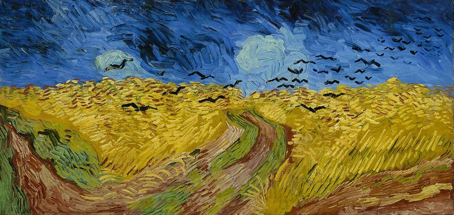 Nature Painting - Wheat Field With Crows At Wheat Fields Van Gogh Series, By Vincent Van Gogh by Artistic Panda