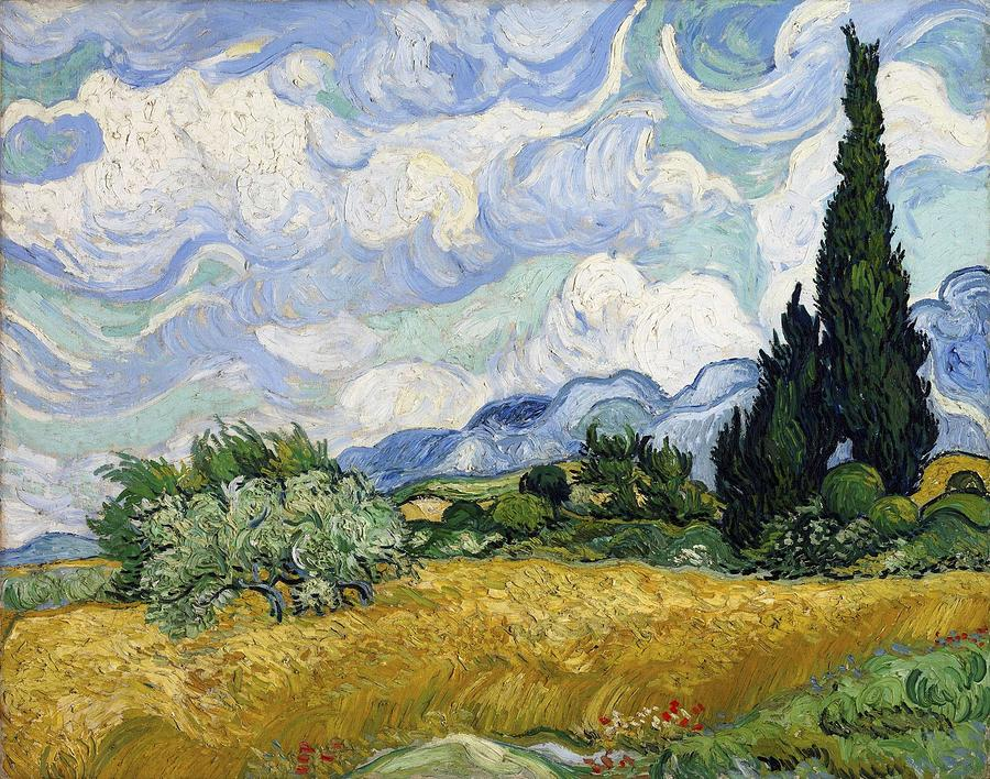 Nature Painting - Wheat Field With Cypresses by Artistic Panda